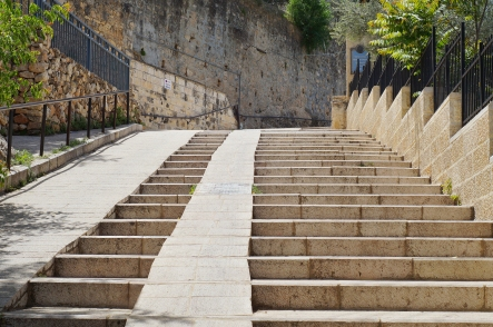 Ancient steep stone stair, ancient street, Israel.