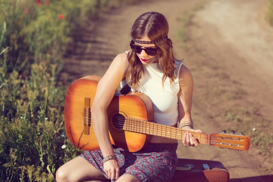 Beautiful girl with a guitar