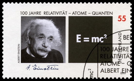 German Postage Stamp With Portrait Of Albert Einstein