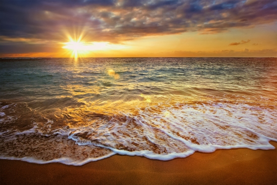 Beach holidays vacation background - calm ocean during tropical