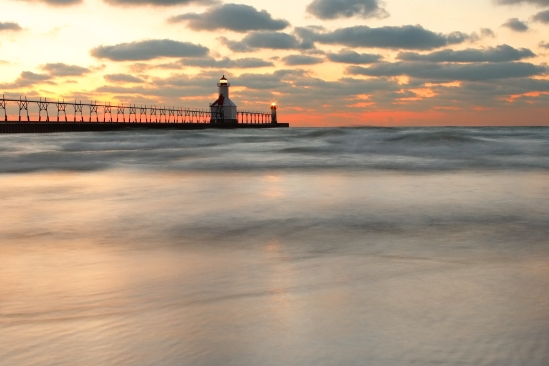 St Joseph, Michigan, North Pier Lighthouse at sunset, long expos
