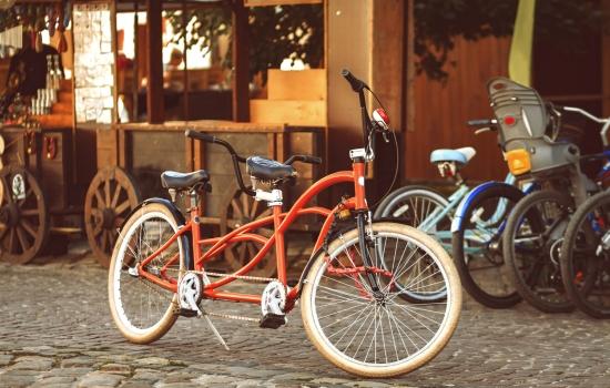 Retro-style Tandem Bicycle On Rynok Sq. Lviv, Ukraine