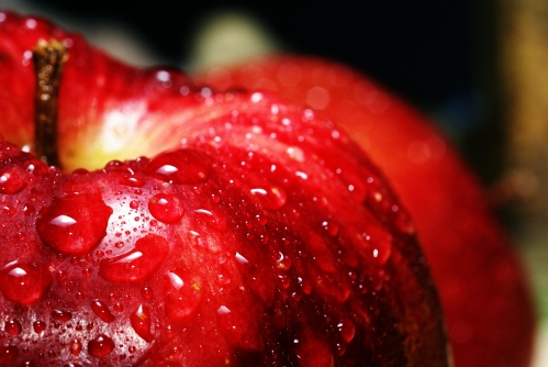 Water Drops On A Red Apple